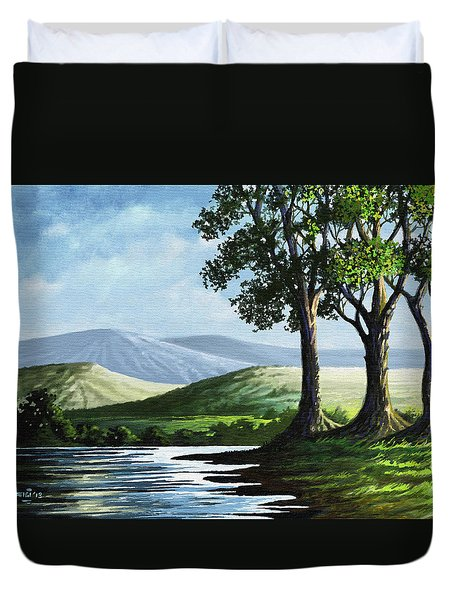 Duvet Cover featuring the painting Late Afternoon by Anthony Mwangi
