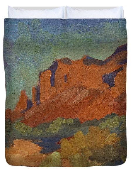 Late Afternoon Light At Superstition Mountain Duvet Cover