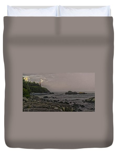 Duvet Cover featuring the photograph Late Afternoon Sun On West Quoddy Head Lighthouse by Marty Saccone