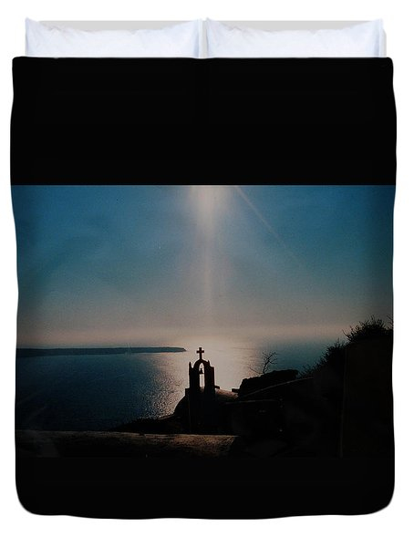 Late Evening Meditation On Santorini Island Greece Duvet Cover