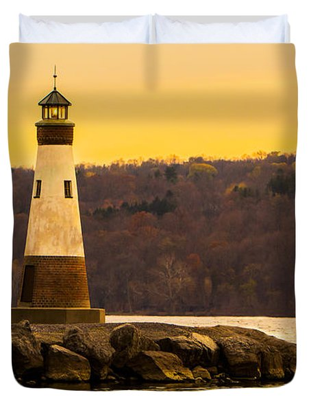 Late Fall Sunset At Myers Park Duvet Cover