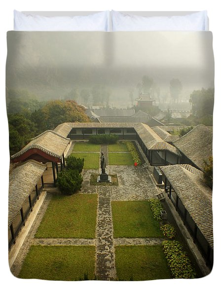 Duvet Cover featuring the photograph Late Morning Fog At The Great Wall  by Lucinda Walter