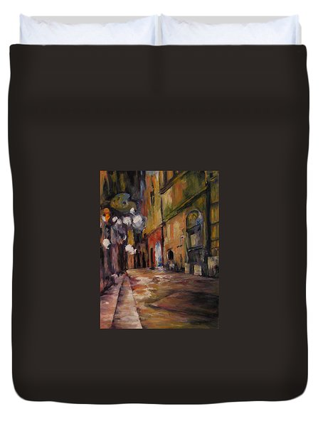 Late Night In The Old City Duvet Cover by Connie Schaertl