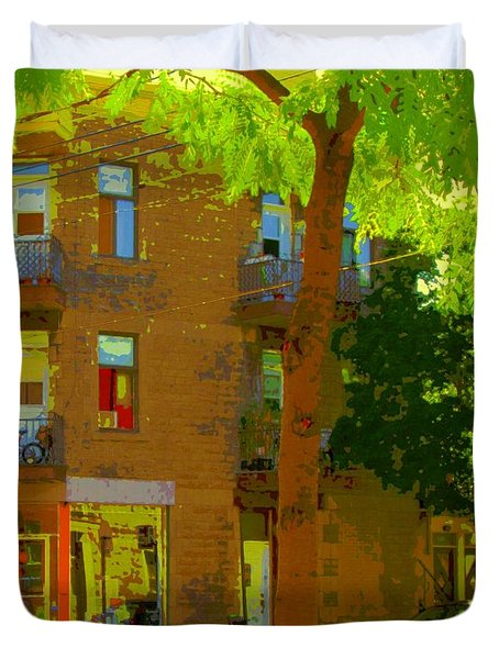 L'atelier Boutique Rue Clark And Fairmount Art Of Montreal Street Scene In Summer By Carole Spandau  Duvet Cover by Carole Spandau