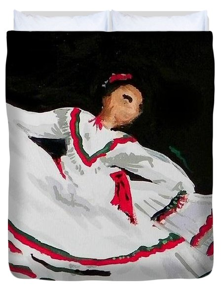 Duvet Cover featuring the painting Latin Dancer by Marisela Mungia