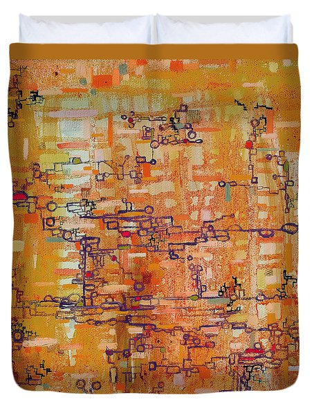Lattice Animals Abstract Oil Painting By Regina Valluzzi Duvet Cover