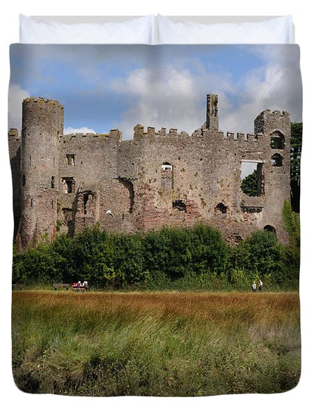 Duvet Cover featuring the photograph Laugharne Castle by Jeremy Voisey