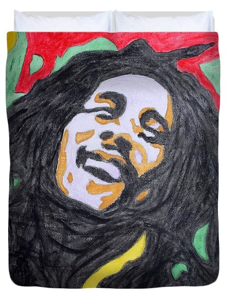 Duvet Cover featuring the painting Happy Bob Marley  by Stormm Bradshaw