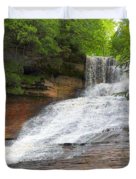 Duvet Cover featuring the photograph Laughing Whitefish Waterfall by Terri Gostola