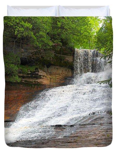Laughing Whitefish Waterfall Duvet Cover by Terri Gostola