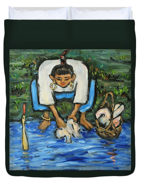 Duvet Cover featuring the painting Laundry Girl by Xueling Zou