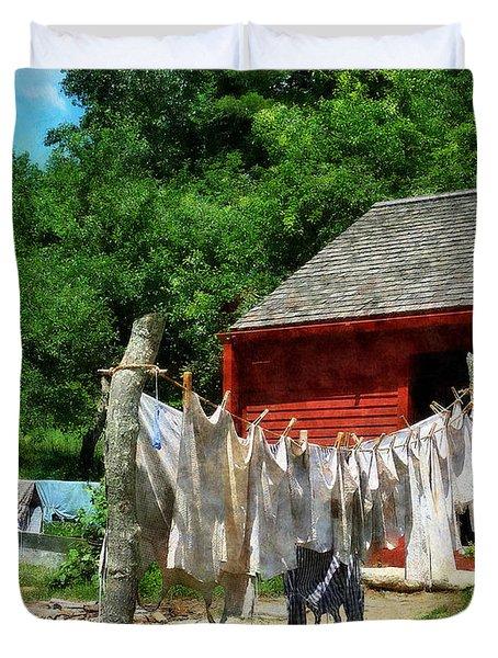 Laundry Hanging On Line Duvet Cover