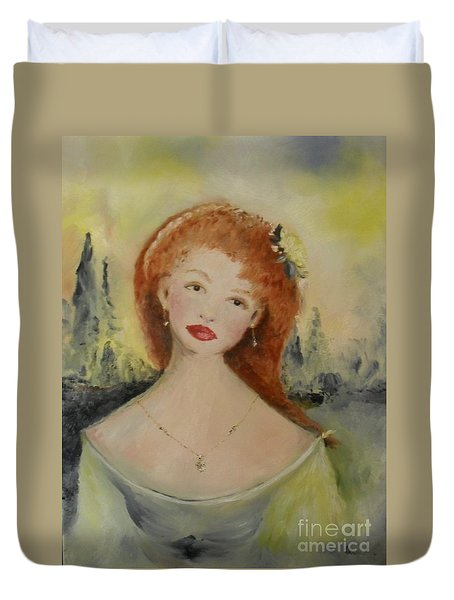 Duvet Cover featuring the painting Laurel by Laurie Lundquist