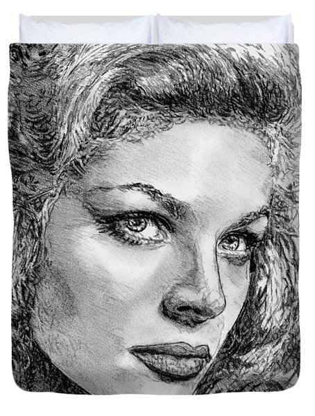 Lauren Bacall Duvet Cover by J McCombie