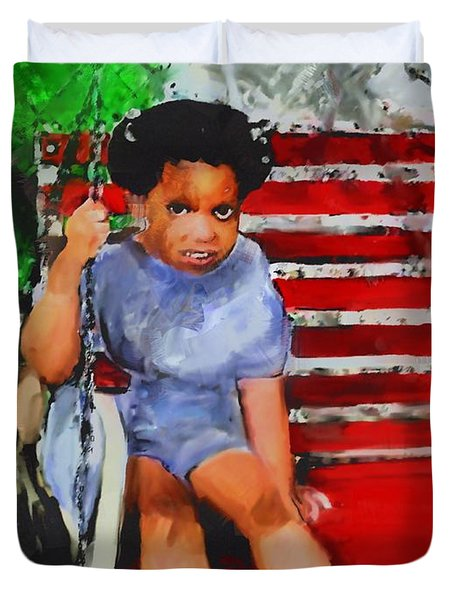 Duvet Cover featuring the painting Lauren On The Swing by Vannetta Ferguson