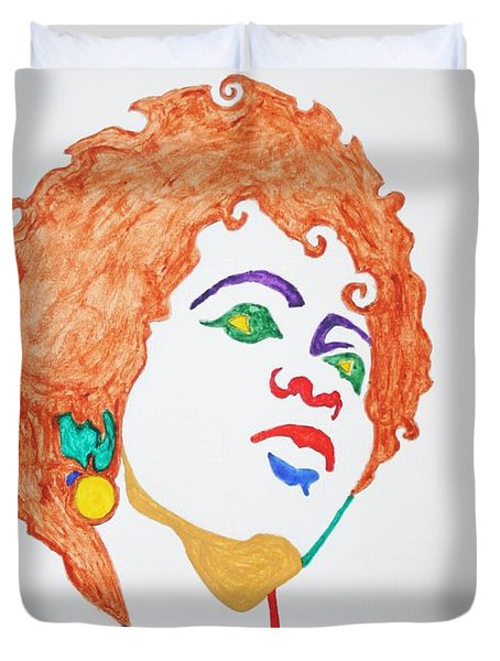 Duvet Cover featuring the painting Lauryn Hill  by Stormm Bradshaw