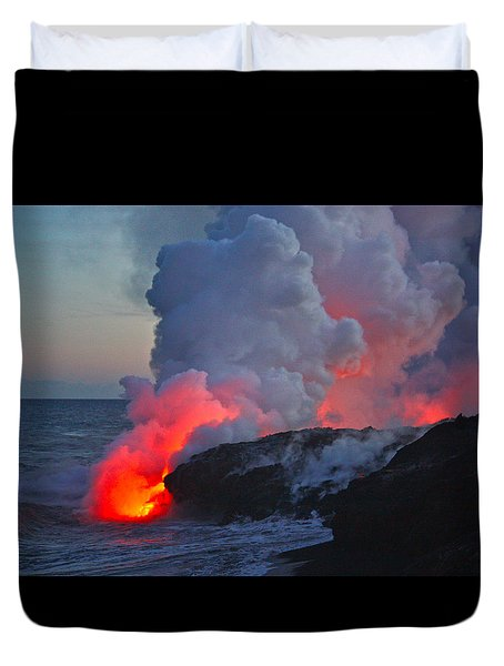 Lava Flow At Sunset In Kalapana Duvet Cover