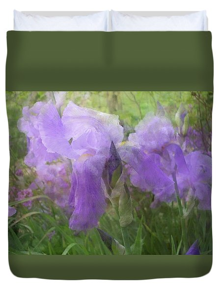 Duvet Cover featuring the photograph Lavender Blue Iris Garden by Mary Wolf