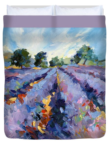 Duvet Cover featuring the painting Lavender Blues by Rae Andrews