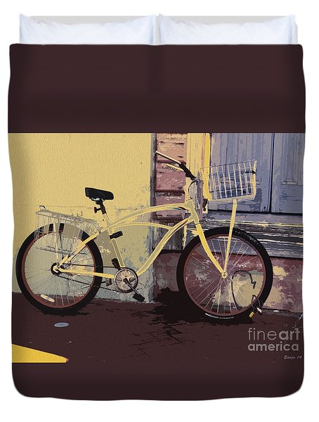 Duvet Cover featuring the photograph Lavender Door And Yellow Bike by Ecinja Art Works