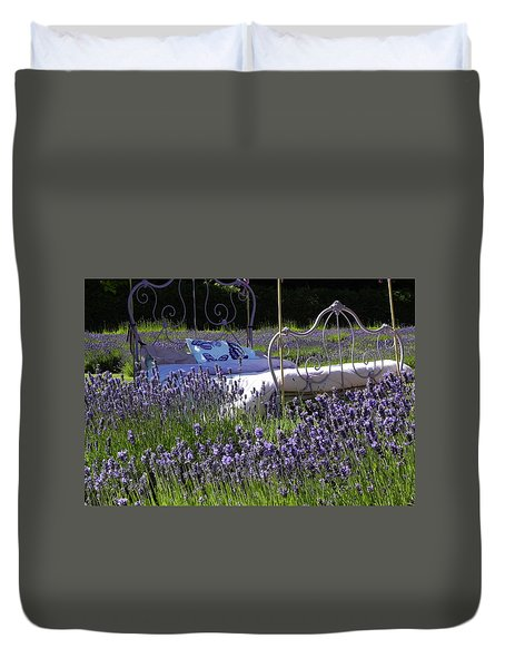Duvet Cover featuring the photograph Lavender Dreams by Cheryl Hoyle