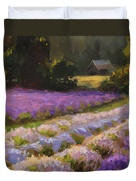 Lavender Farm Landscape Painting - Barn And Field At Sunset Impressionism  Duvet Cover