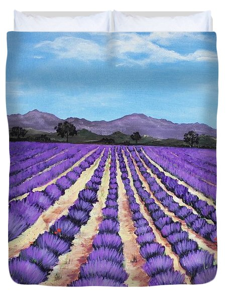 Lavender Field In Provence Duvet Cover