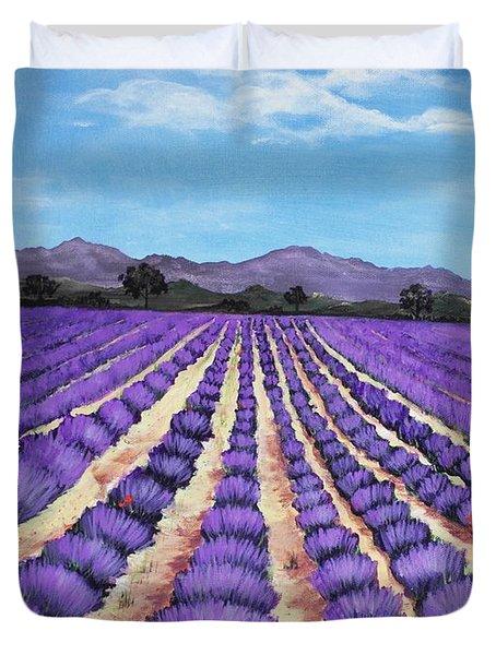 Lavender Field In Provence Duvet Cover