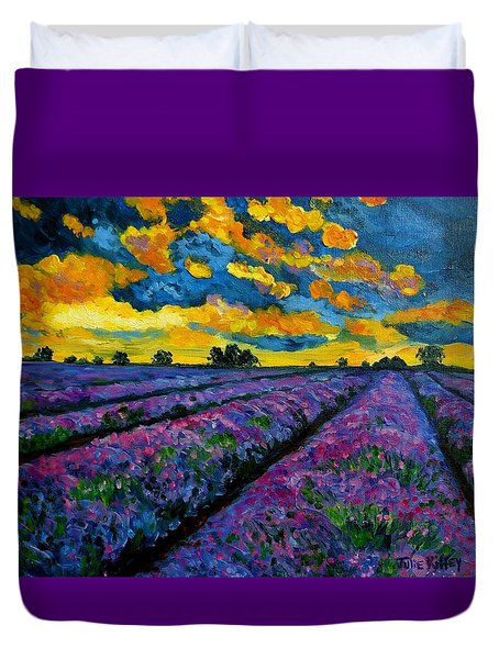 Lavender Fields At Dusk Duvet Cover