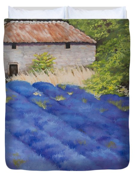 Lavender Fields Duvet Cover by Rebecca Matthews