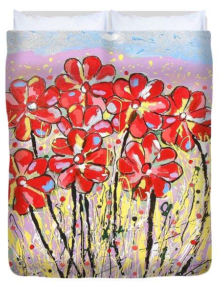 Lavender Flower Garden Duvet Cover