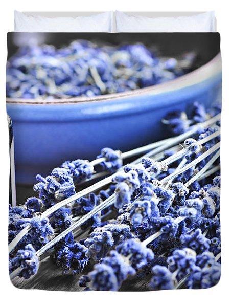 Lavender Herb And Essential Oil Duvet Cover by Elena Elisseeva