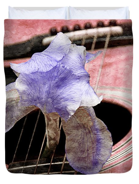 Lavender Iris And Acoustic Guitar - Texture - Music - Musical Instrument - Painterly - Pink  Duvet Cover by Andee Design