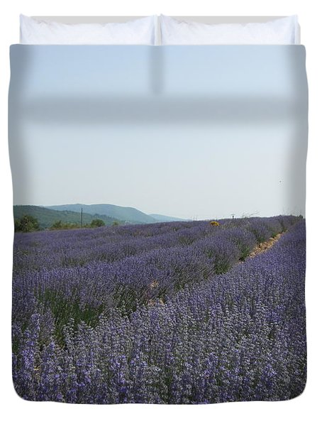 Duvet Cover featuring the photograph Lavender Sky by Pema Hou