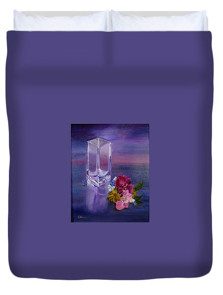 Duvet Cover featuring the painting Lavender Vase by LaVonne Hand