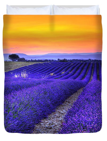 Lavender's Sunset Duvet Cover by Midori Chan