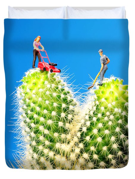 Lawn Mowing On Cactus Duvet Cover by Paul Ge
