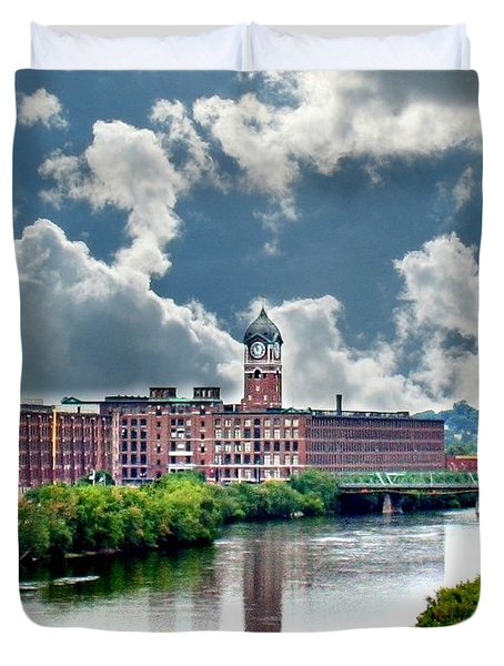 Lawrence Ma Historic Clock Tower Duvet Cover by Barbara S Nickerson