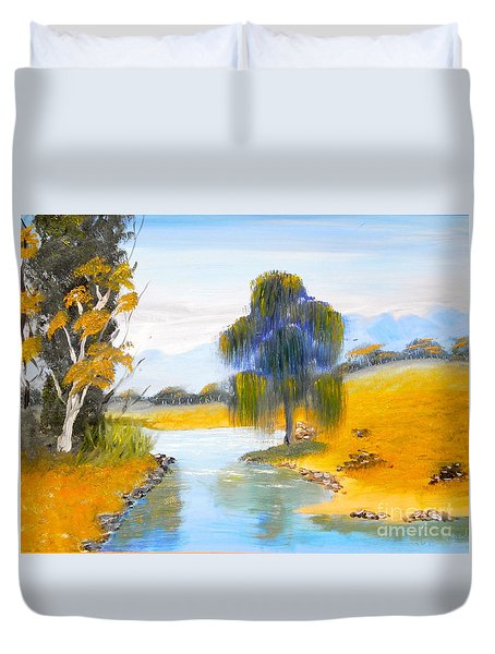 Duvet Cover featuring the painting Lawson River by Pamela  Meredith