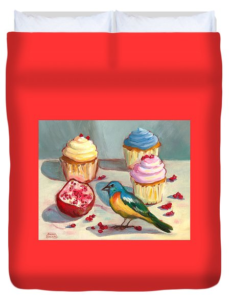 Lazuli Bunting And Pomegranate Cupcakes Duvet Cover by Susan Thomas