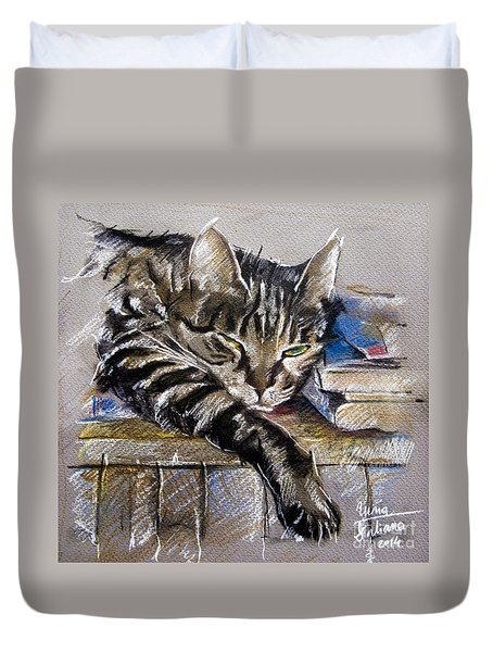Lazy Cat Portrait - Drawing Duvet Cover