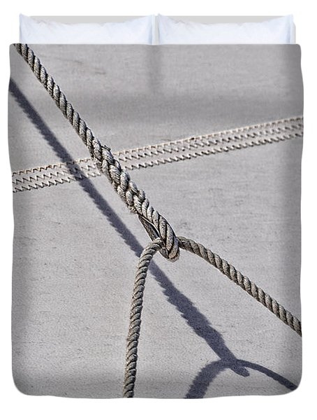 Duvet Cover featuring the photograph Lazy Jack-shadow And Sail by Marty Saccone