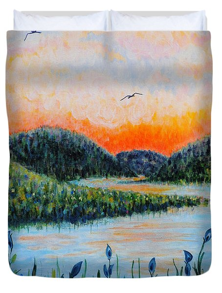 Duvet Cover featuring the painting Lazy River by Holly Carmichael