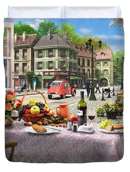 Le Cafe Paris Duvet Cover by Dominic Davison