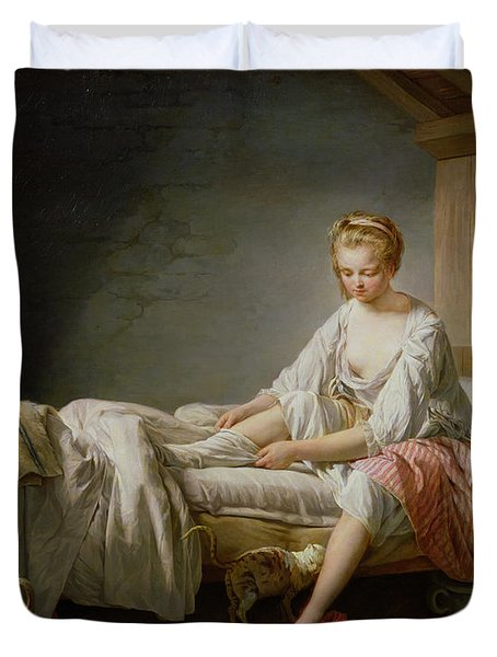 Le Lever De Fanchon Oil On Canvas Duvet Cover