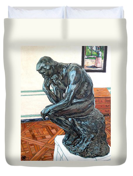 Le Penseur The Thinker Duvet Cover by Tom Roderick