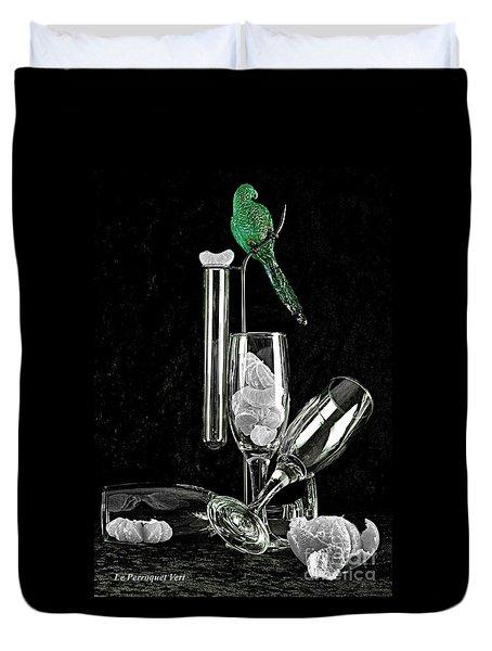 Duvet Cover featuring the photograph Le Perroquet Vert by Elf Evans