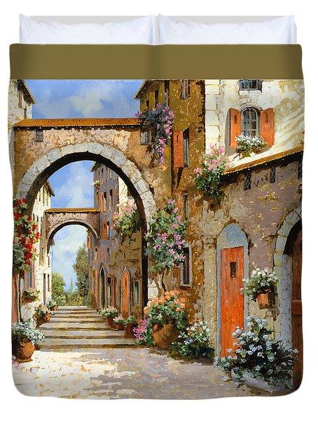 Le Porte Rosse Sulla Strada Duvet Cover by Guido Borelli