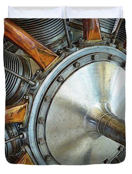Le Rhone C-9j Engine Duvet Cover by Michelle Calkins