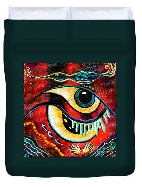 Duvet Cover featuring the painting Leadership Spirit Eye by Deborha Kerr